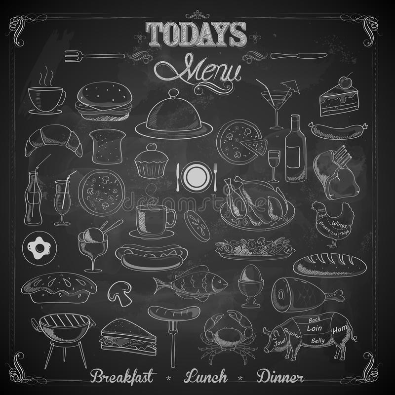 Menu Chalk board vector illustration