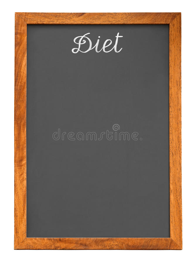 Menu chalkboard for diet food list. Isolated on white background with clipping path. For more isolated objects please visit my collections royalty free stock photo