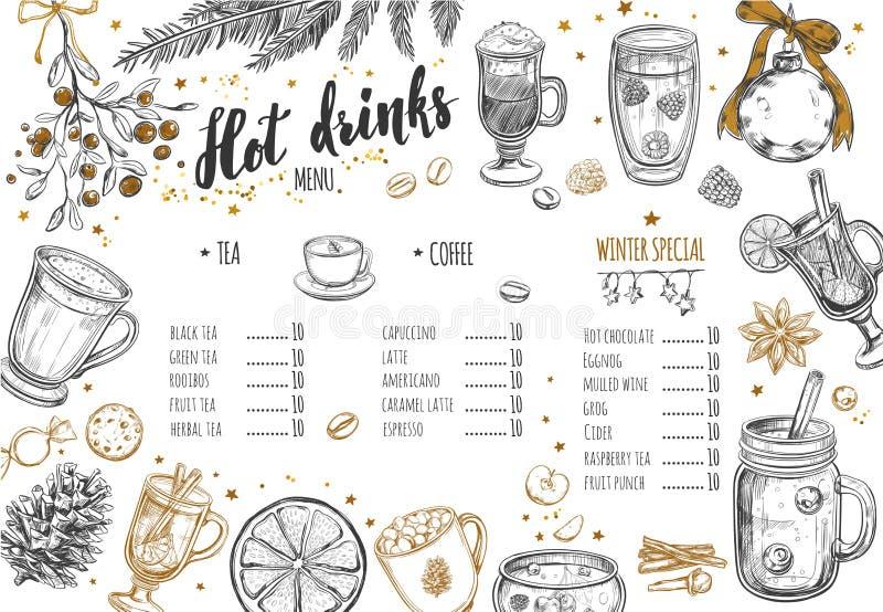Menu chaud d'hiver de boissons Le calibre de conception inclut les illustrations et le lettrage tirés par la main différents de B illustration de vecteur