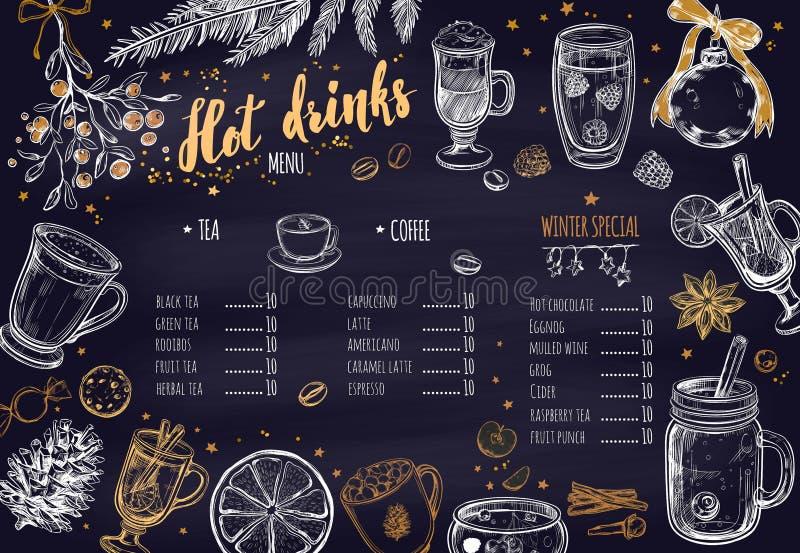 Menu chaud d'hiver de boissons Le calibre de conception inclut les illustrations et le lettrage tirés par la main différents de B illustration libre de droits