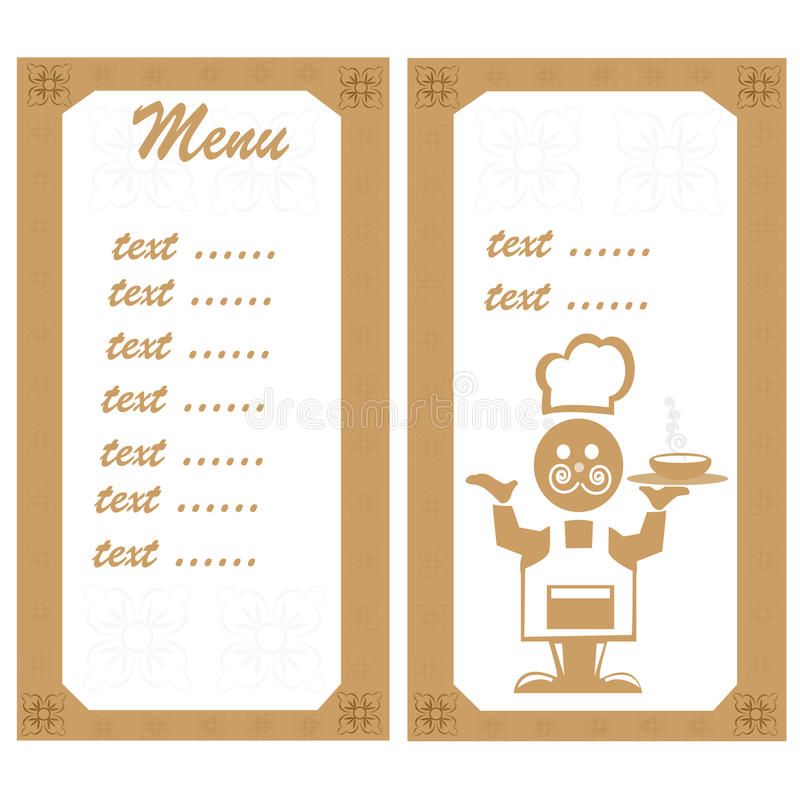 Download Menu with the chef stock vector. Image of communication - 19990707