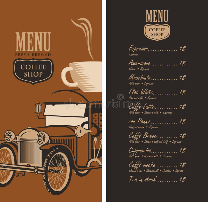 Menu For A Coffee Shop With Old Car, Cup And Price Stock Vector ...