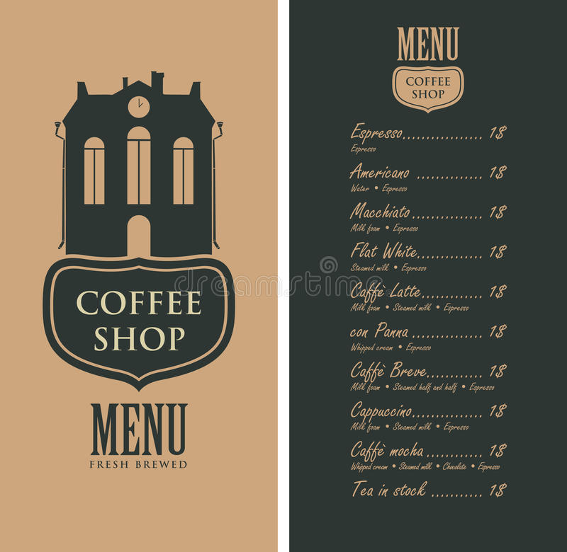 Menu For Coffee Shop With Old House And Price Stock Vector ...