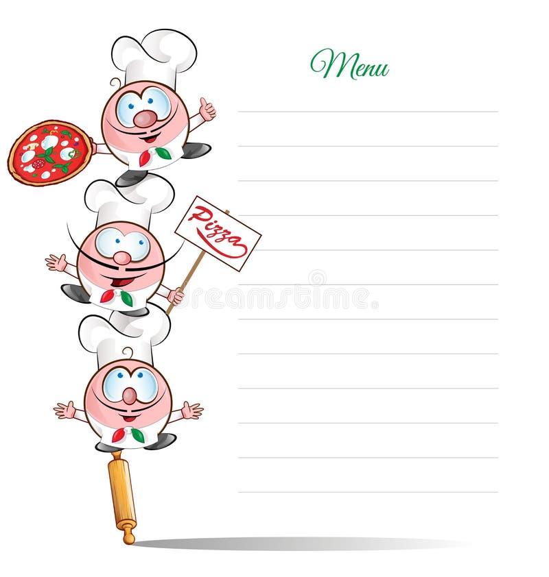 Menu com desenhos animados engraçados do cozinheiro chefe ilustração do vetor
