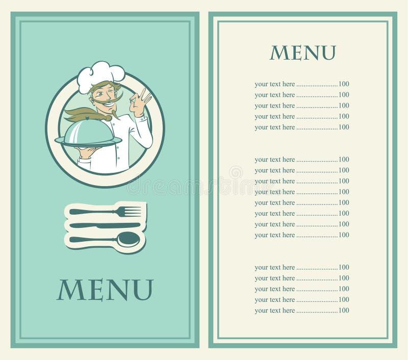 Menu con il cuoco unico illustrazione di stock