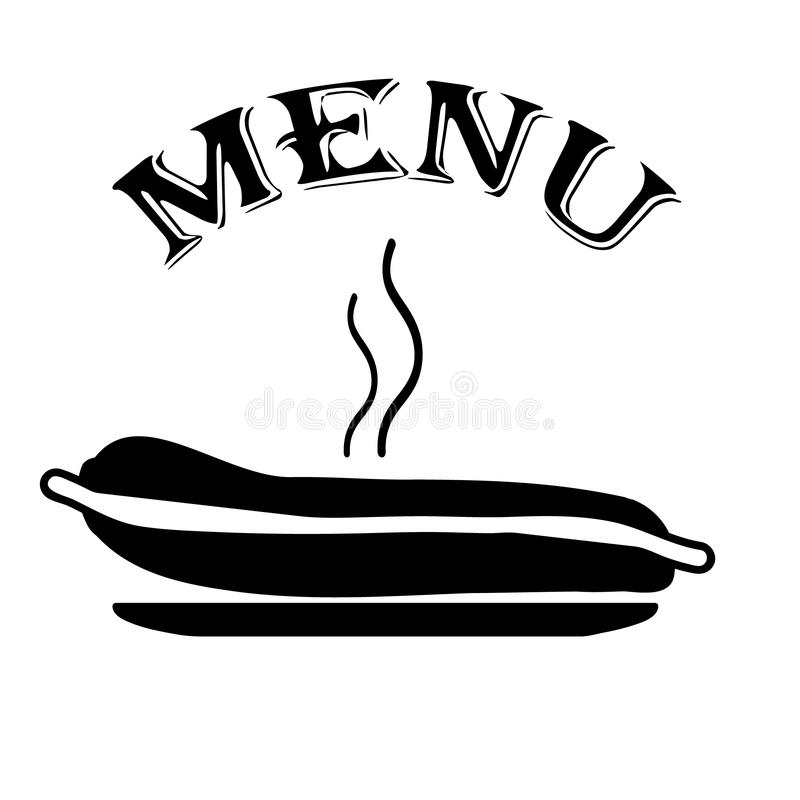 Menu con il hot dog fotografia stock