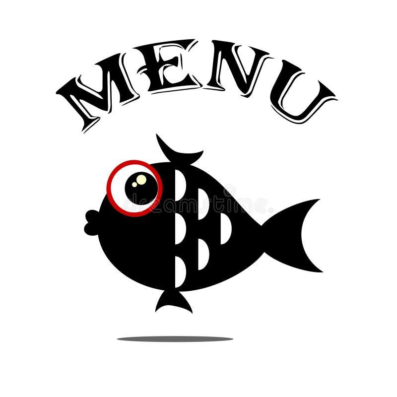 Menu con il pesce fotografia stock