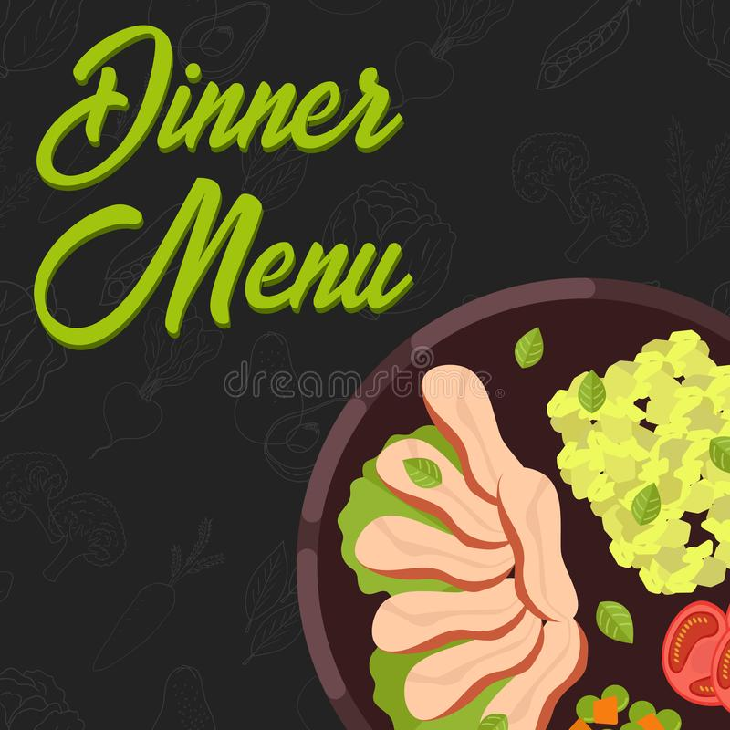 Menu concept. Flat style main course. Healthy food. Vector illustration. Menu concept for restaurant and cafe. Dinner menu template Flat style main course Vector royalty free illustration