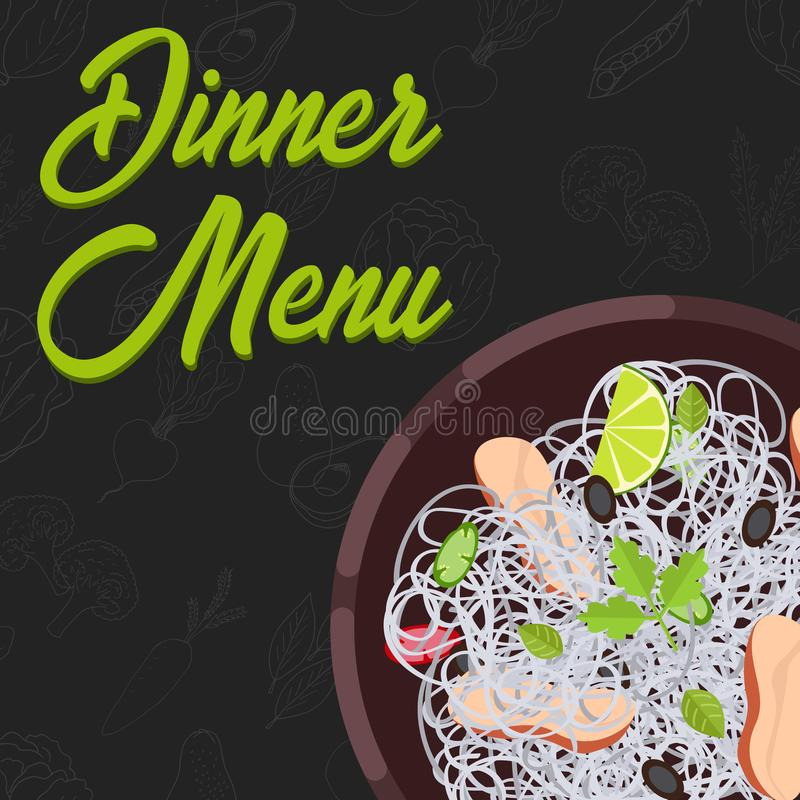 Menu concept. Flat style main course. Healthy food. Vector illustration. Menu concept for restaurant and cafe. Dinner menu template Flat style main course Vector stock illustration