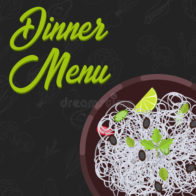 Menu concept. Flat style main course. Healthy food. Vector illustration. Menu concept for restaurant and cafe. Dinner menu template Flat style main course Vector vector illustration