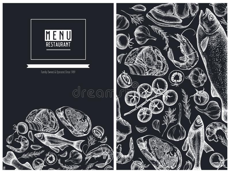 Menu cover floral design with chalk garlic, cherry tomatoes, fish, shrimp, beef, rosemary vector illustration