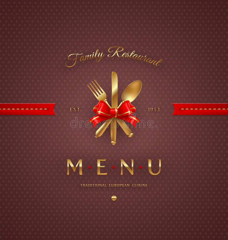 Download Menu Cover With Golden Cutlery Stock Vector - Image: 31422991