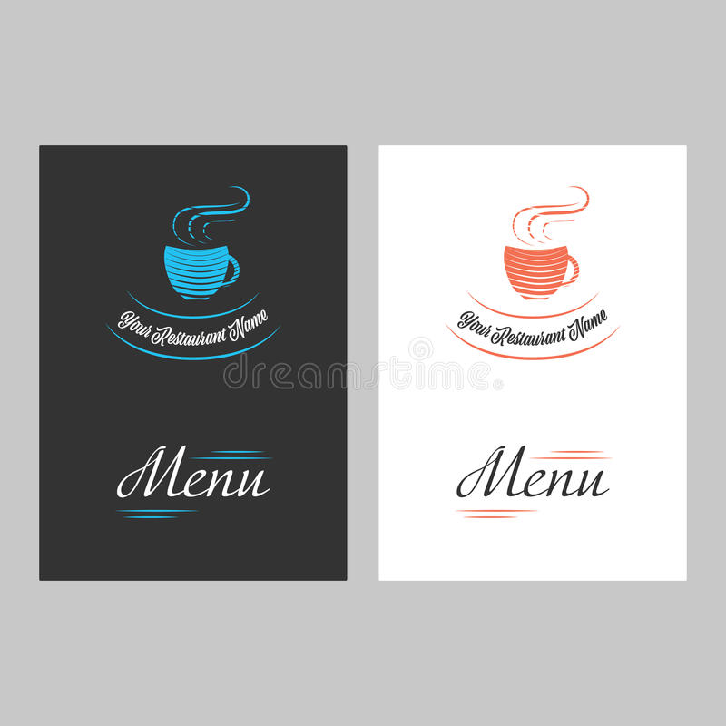 Menu cover page. In vintage style with black and white backgrounds vector illustration