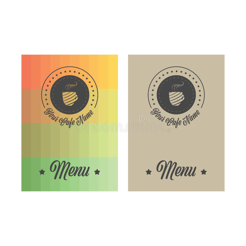 Menu cover page. In vintage style with different color backgrounds royalty free illustration
