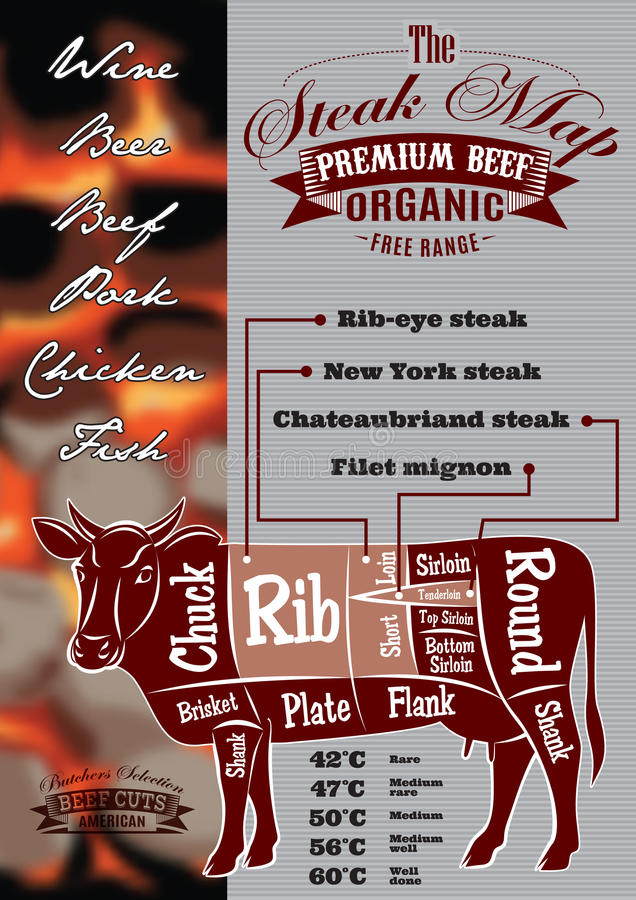 Menu with a cow and steak card for restaurant menu vector illustration