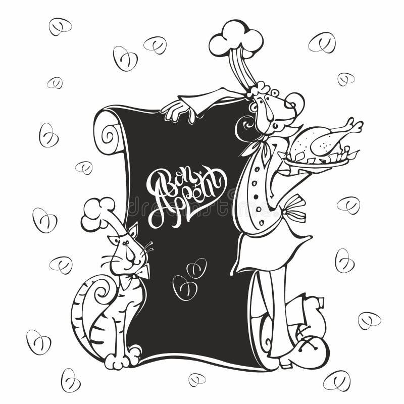 menu Cozinheiro do cozinheiro chefe e do gato no estilo dos desenhos animados Giz na placa do menu Bon Appetit lettering Para cri ilustração do vetor