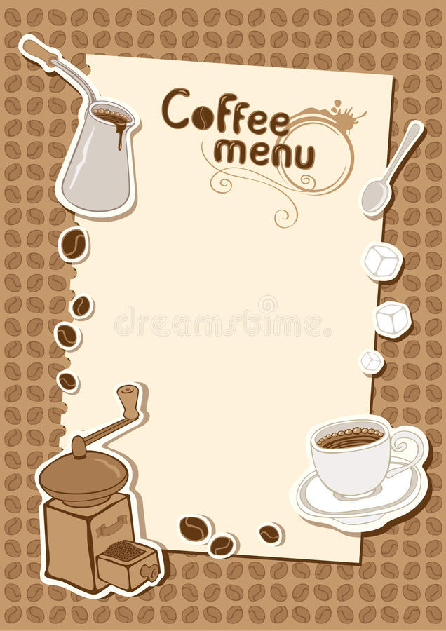 Download Menu With A Cup Of Coffee Grinder Stock Vector - Image: 22348334