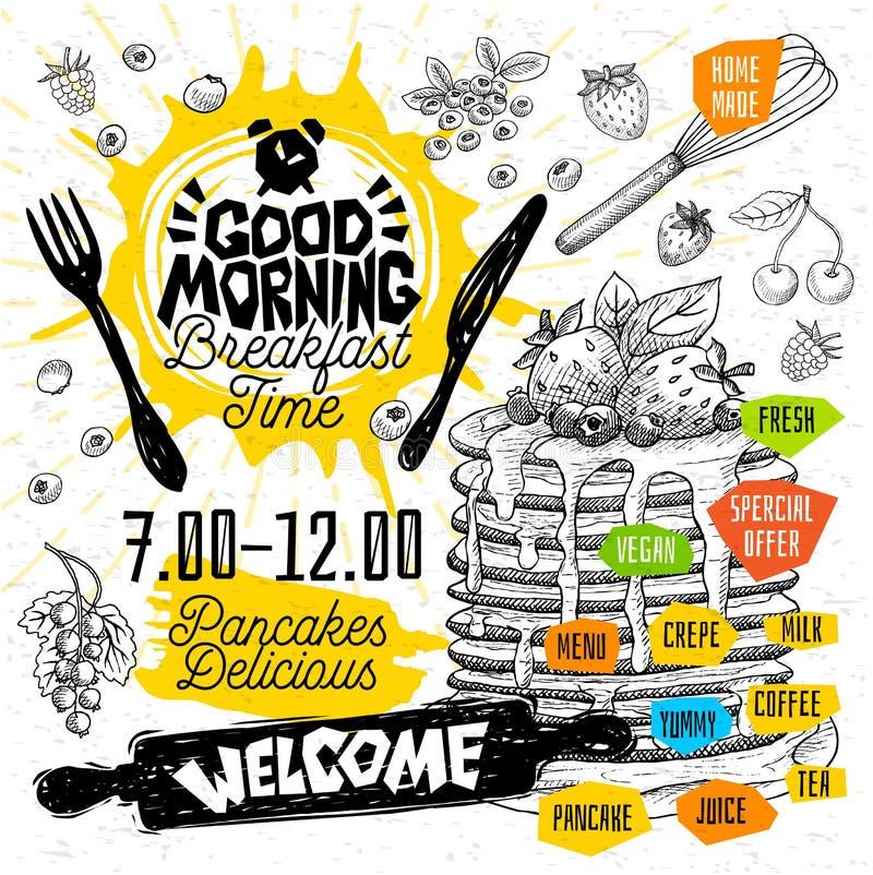 Menu délicieux de restaurant de crêpes de crêpes de temps de petit déjeuner bonjour Dirigez les cartes d'insecte de nourriture de illustration libre de droits