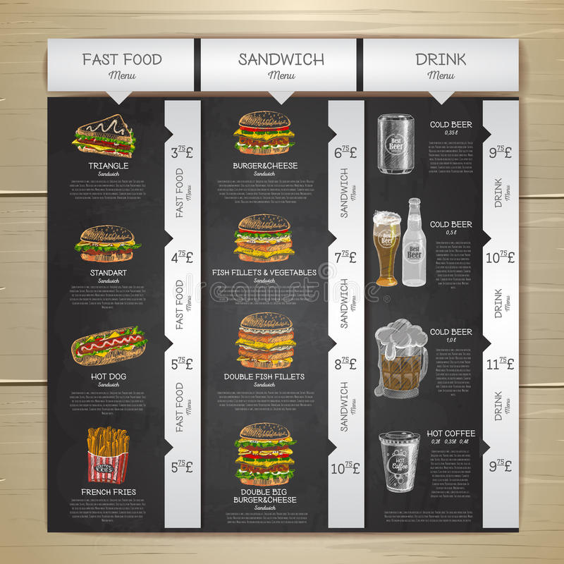 Menu d'aliments de préparation rapide de dessin de craie de vintage Croquis de sandwich illustration libre de droits