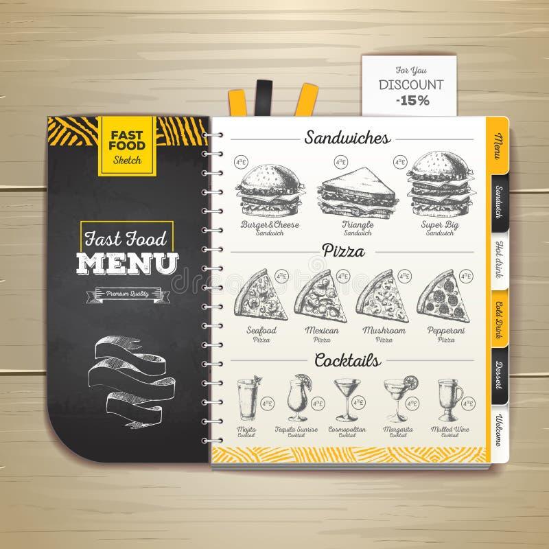 Menu d'aliments de préparation rapide de dessin de craie de vintage Croquis de sandwich illustration stock