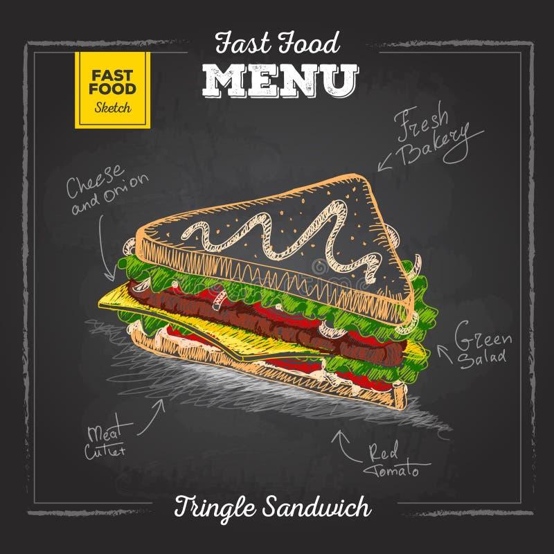 Menu d'aliments de préparation rapide de dessin de craie de vintage Sandwich illustration stock