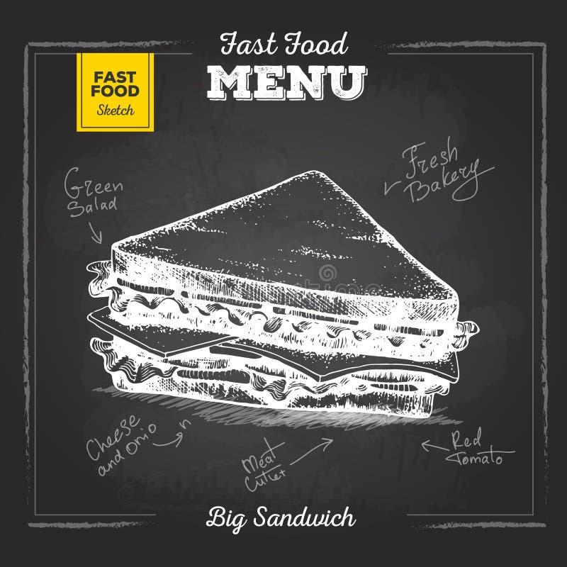 Menu d'aliments de préparation rapide de dessin de craie de vintage Sandwich illustration de vecteur