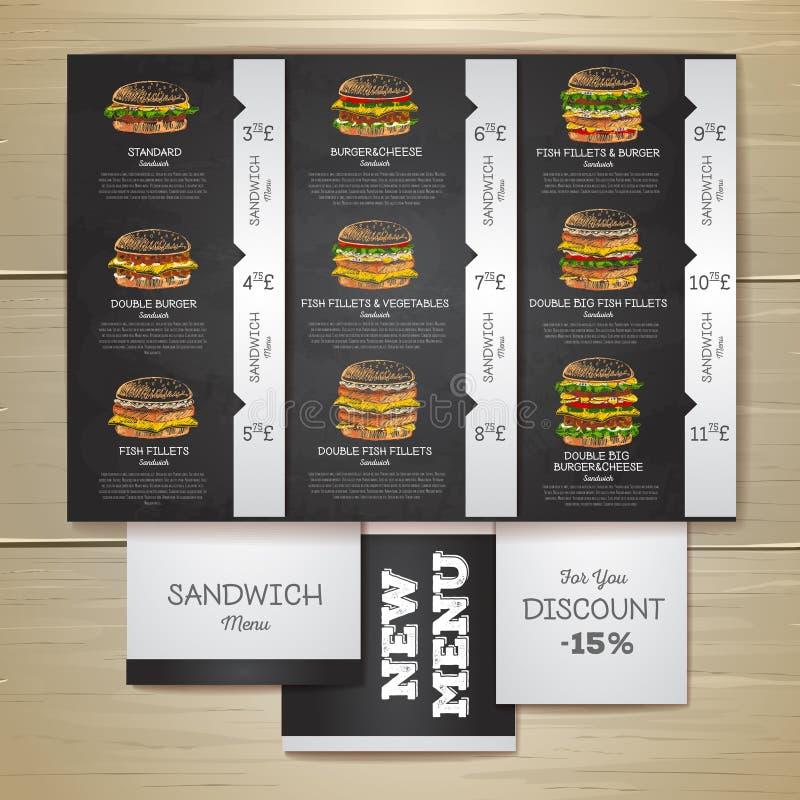 Menu d'aliments de préparation rapide de dessin de craie de vintage Sandwich illustration libre de droits