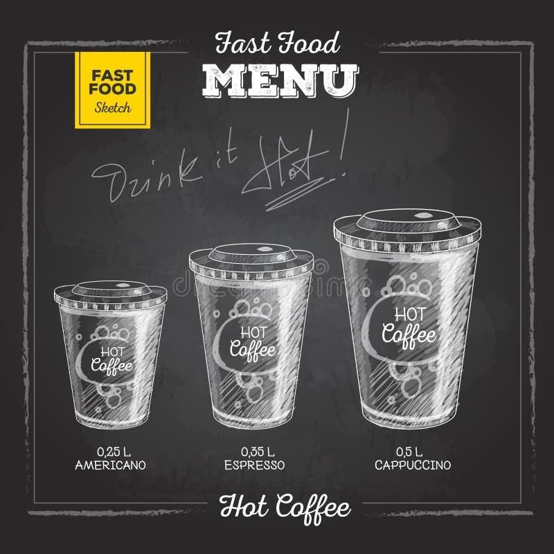 Menu d'annata degli alimenti a rapida preparazione del disegno di gesso Caffè caldo illustrazione di stock