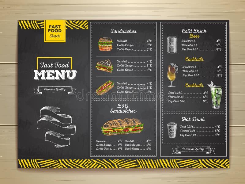 Menu d'annata degli alimenti a rapida preparazione del disegno di gesso Schizzo del panino fotografia stock