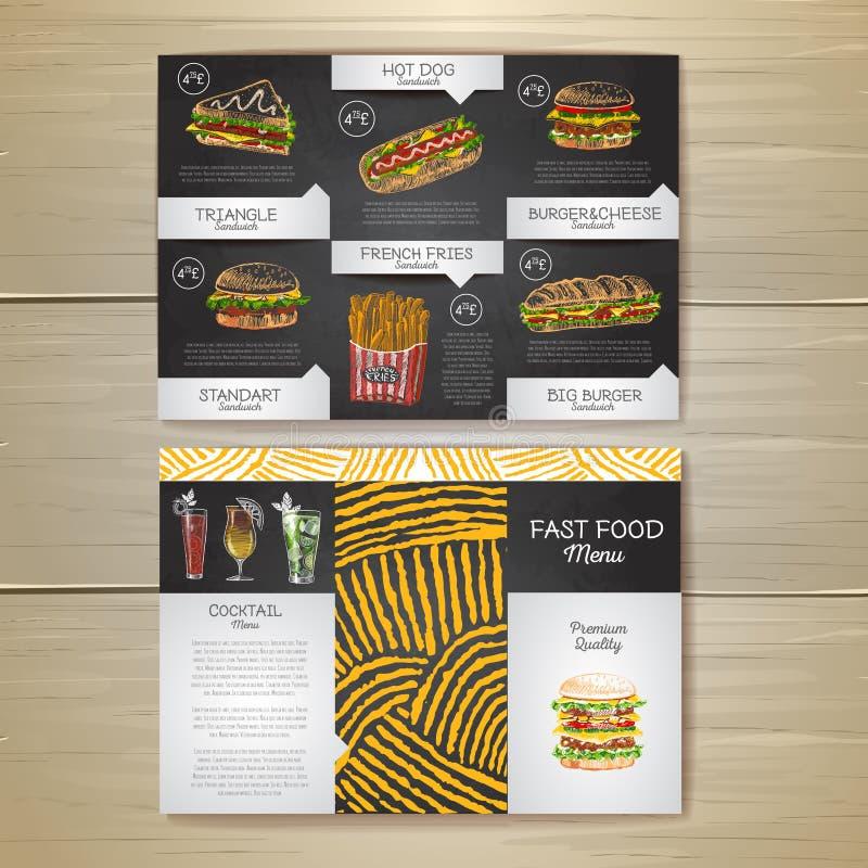 Menu d'annata degli alimenti a rapida preparazione del disegno di gesso Schizzo del panino illustrazione vettoriale
