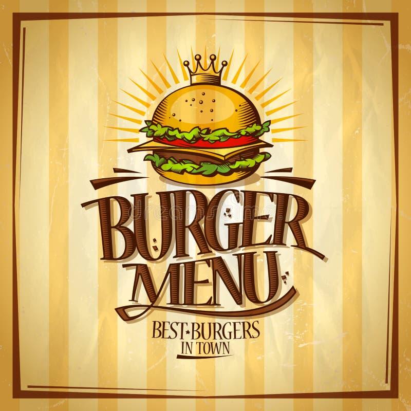 Menu d'hamburger, les meilleurs hamburgers dans le concept de construction de ville, rétro affiche de vecteur de style illustration de vecteur