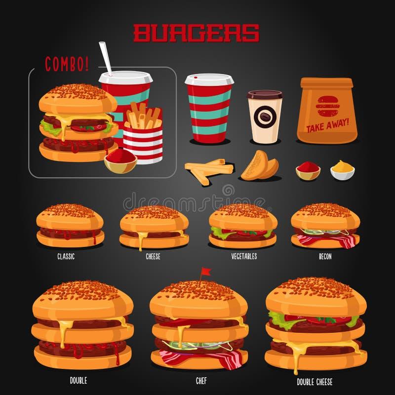 Menu d'hamburger Types d'hamburgers graphismes d'aliments de préparation rapide réglés Objet d'isolement réaliste illustration stock