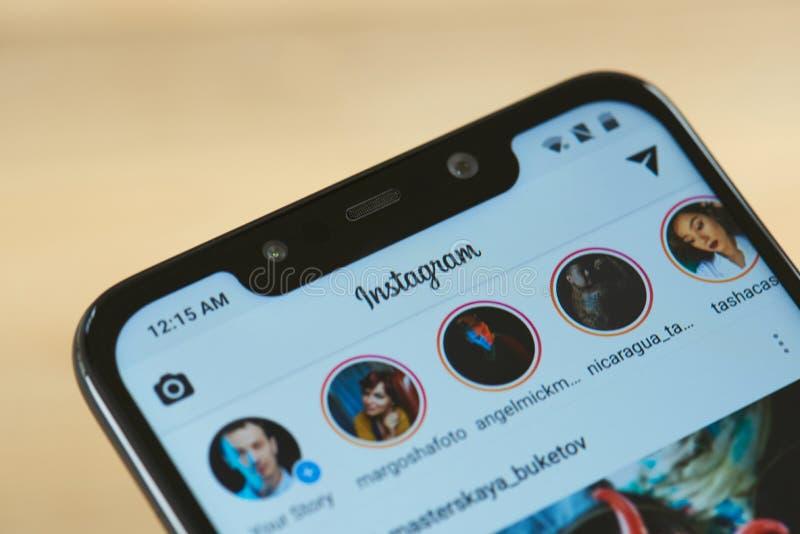 Menu d'histoires d'Instagram images libres de droits