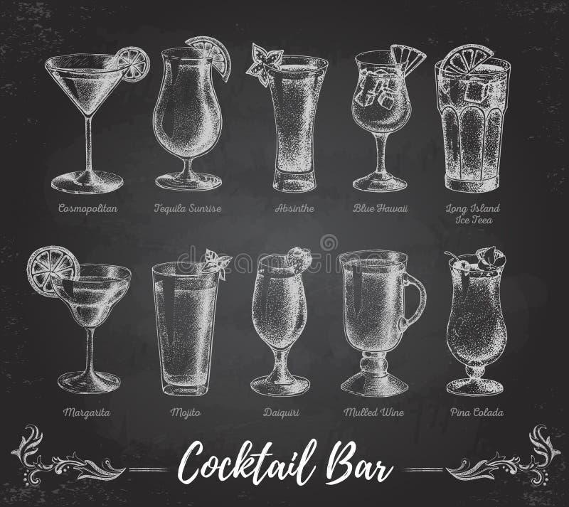 Menu da barra do cocktail do desenho de giz do vintage ilustração royalty free