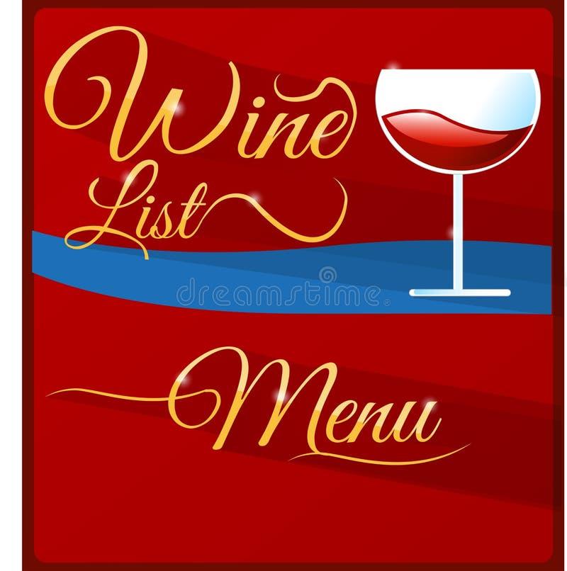 Menu da carta de vinhos ilustração stock