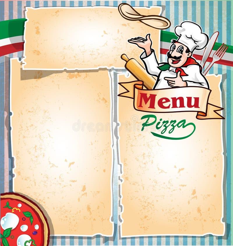 Menu da pizza com cozinheiro chefe ilustração royalty free
