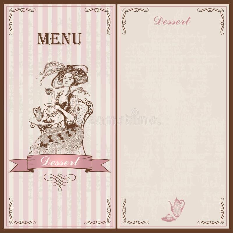 Menu da sobremesa Para cafés e restaurantes Estilo do vintage Uma menina em um chá bebendo velho do vestido e do chapéu esboço Il ilustração do vetor