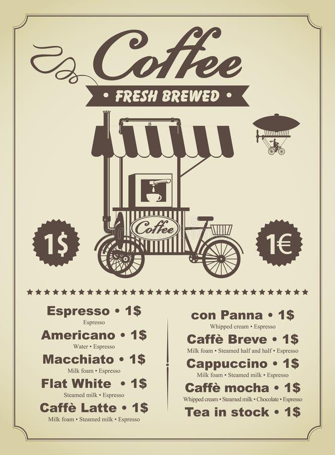 Menu de café illustration de vecteur