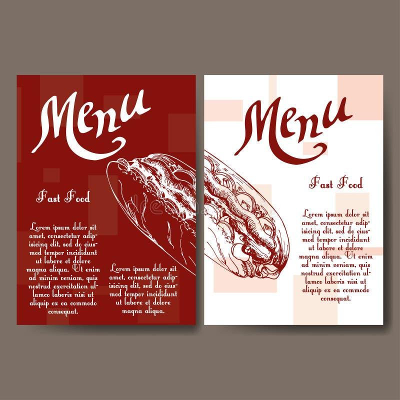 Menu de café avec la conception tirée par la main Calibre de menu de restaurant d'aliments de préparation rapide Ensemble de cart illustration de vecteur