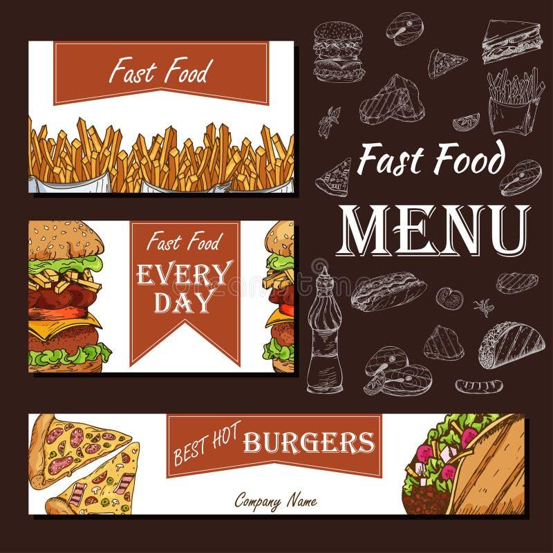 Menu de café avec la conception tirée par la main Calibre de menu de restaurant d'aliments de préparation rapide Ensemble de cart illustration libre de droits