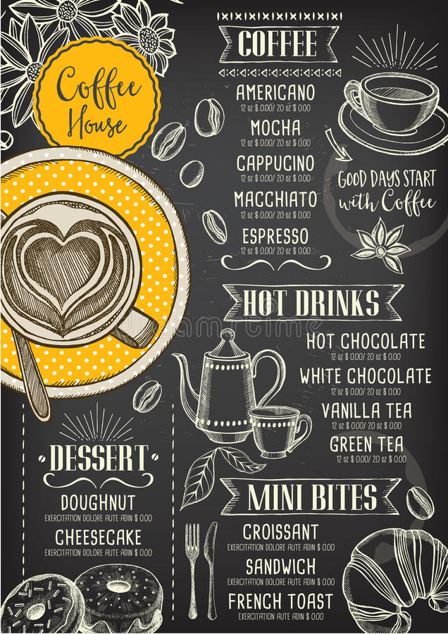 Menu de café de restaurant de café, conception de calibre illustration stock