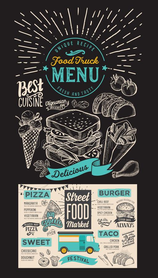 Menu de camion de nourriture pour le festival de rue sur le fond de tableau De illustration libre de droits