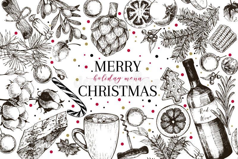 Menu de Christams Le vecteur a esquissé la bannière de style de vintage Promotion de reataurnat de vacances Décoration de Noël, n illustration libre de droits