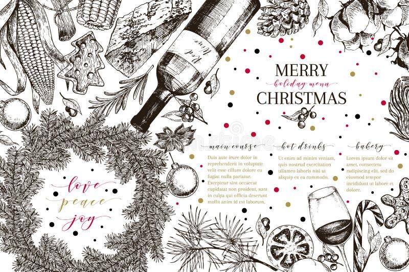 Menu de Christams Le vecteur a esquissé la bannière de style de vintage Promotion de reataurnat de vacances Décoration de Noël, n illustration stock