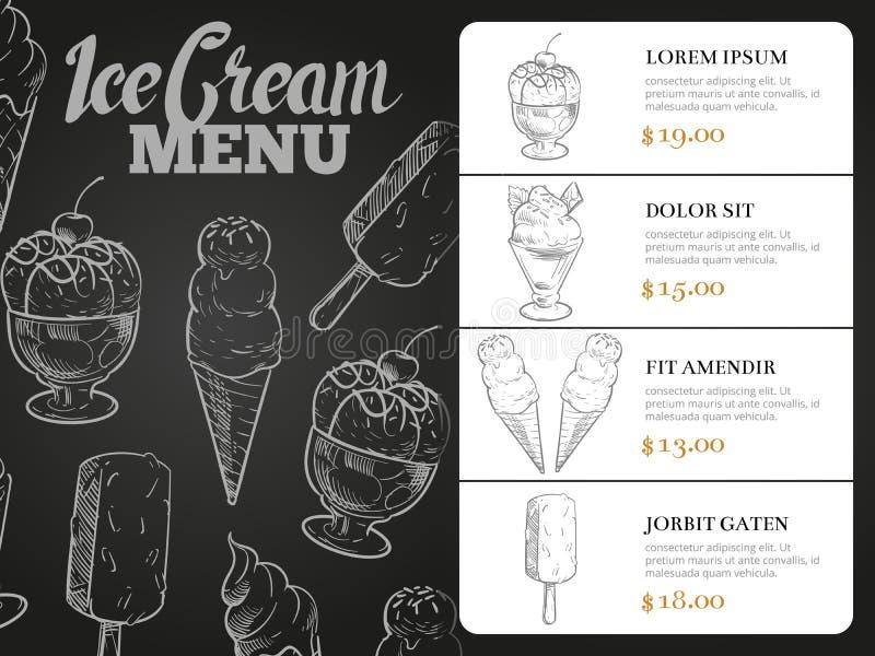 Menu de crème glacée avec des prix - carte de menu de tableau noir de desserts illustration stock