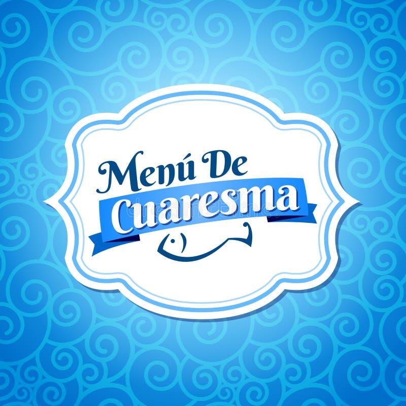 Menu de Cuaresma - νηστήσιμο ισπανικό κείμενο επιλογών διανυσματική απεικόνιση