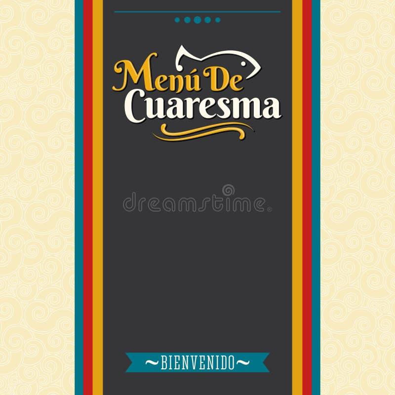 Menu de Cuaresma - texto espanhol do menu quaresmal - projeto emprestado da tampa do menu do vetor do alimento de mar ilustração royalty free