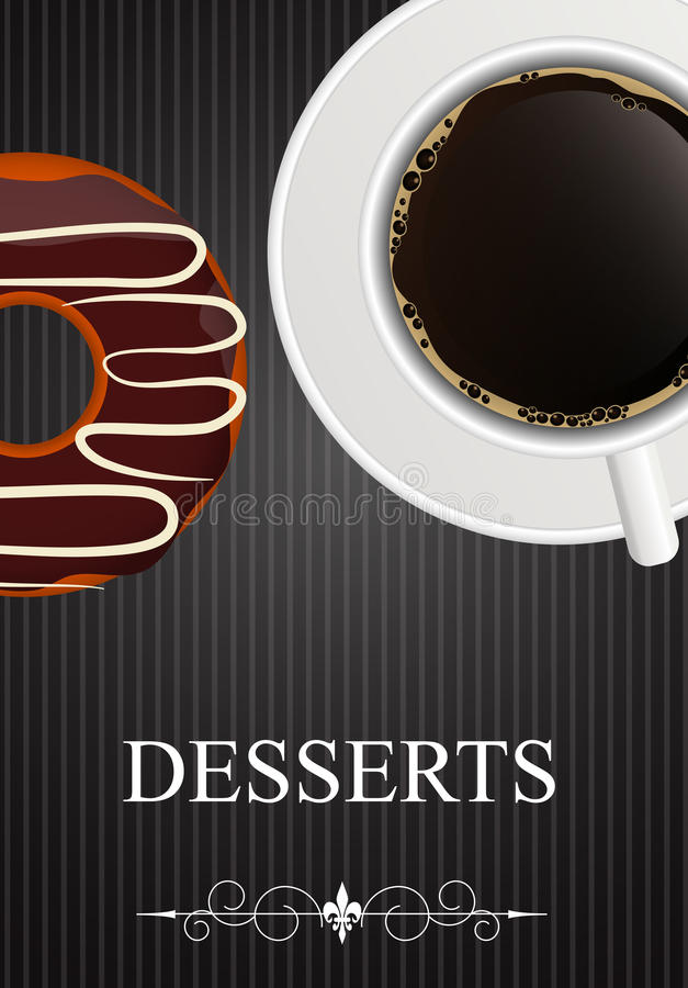 Menu de dessert de vecteur avec du café et le beignet illustration de vecteur