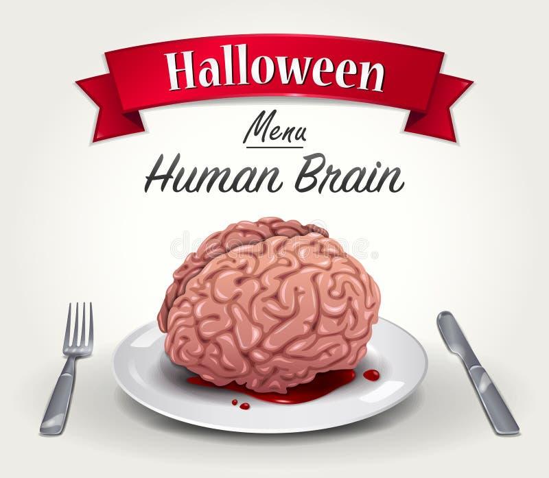 Menu de Dia das Bruxas - cérebro humano ilustração do vetor