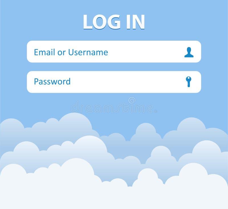 Menu de forme de login avec des icônes Fond de nuage Élément de site Web pour votre web design illustration stock
